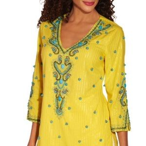 BOSTON PROPER • Turquoise Baubles Tunic Top NWOT